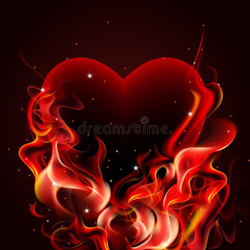 Corazón ardiente. stock de ilustración