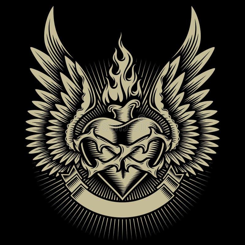 Corazón ardiente con alas con las espinas ilustración del vector
