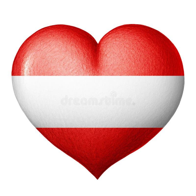 Corazón austríaco de la bandera aislado en el fondo blanco Gráfico de lápiz ilustración del vector