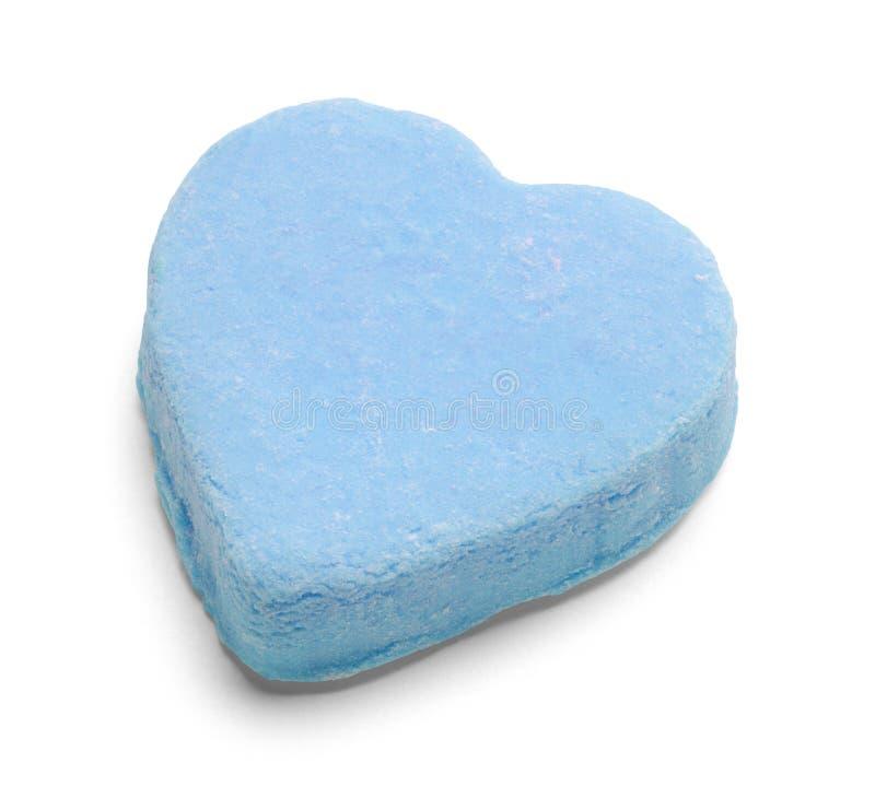 Corazón azul del caramelo de las tarjetas del día de San Valentín imagen de archivo