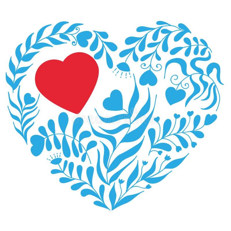 Corazón azul del vector con la hoja y la flor libre illustration