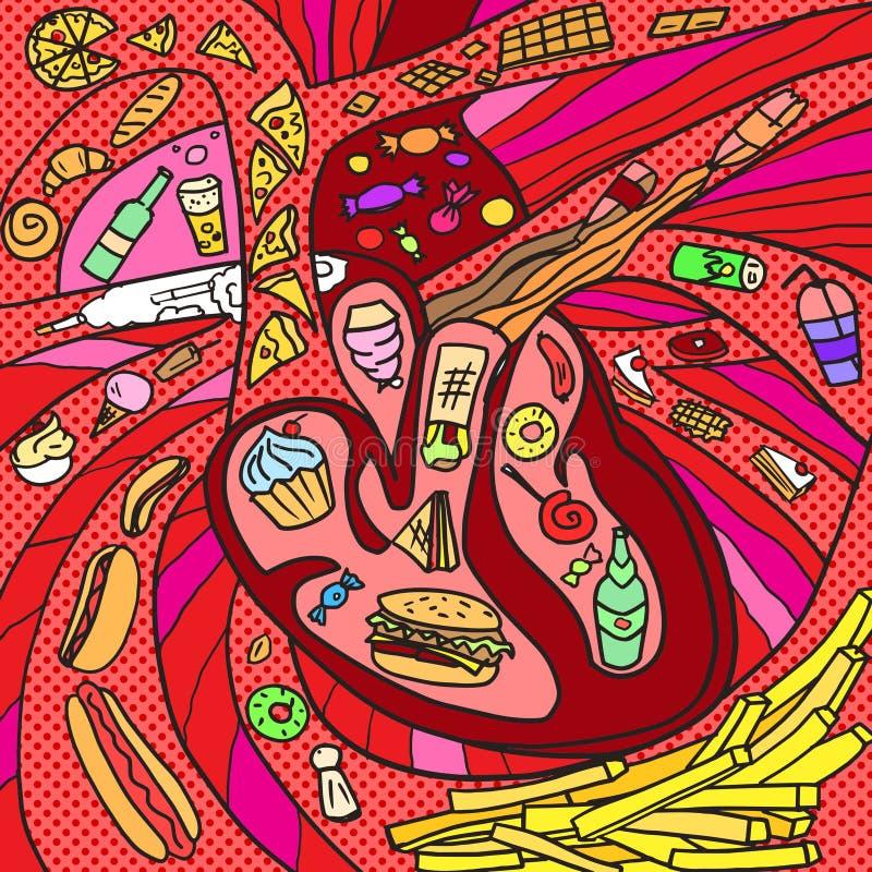 Corazón bajo ataque por vector dañino de las sustancias ilustración del vector