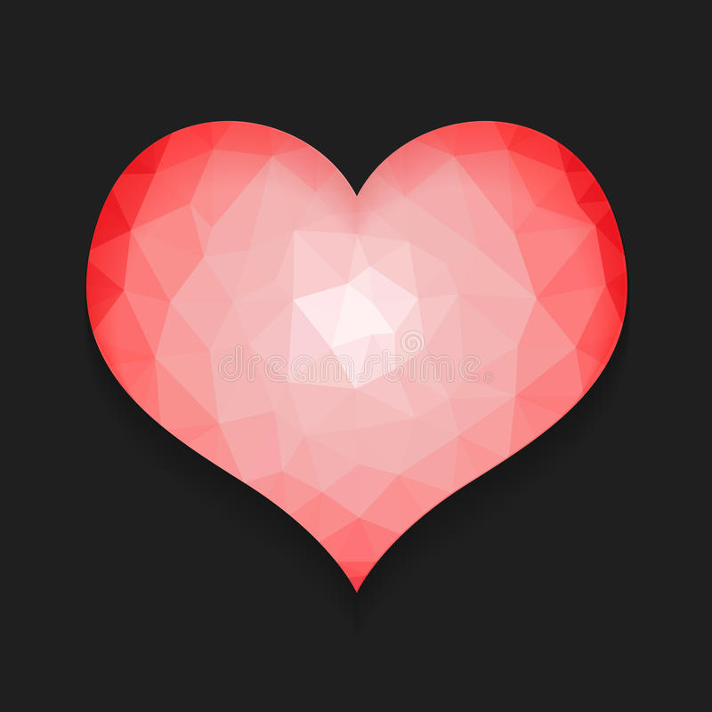 Corazón bajo de la forma del polígono ilustración del vector