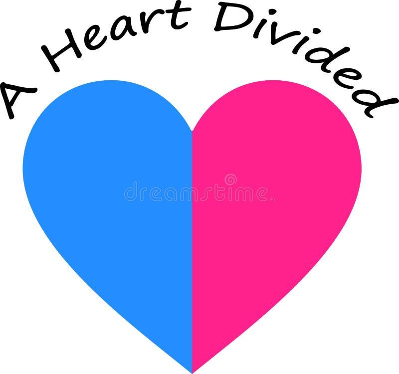 Corazón bicolor dividido corazón stock de ilustración