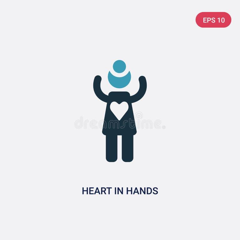 Corazón bicolor en icono del vector de las manos del concepto de la gente el corazón azul aislado en símbolo de la muestra del ve ilustración del vector