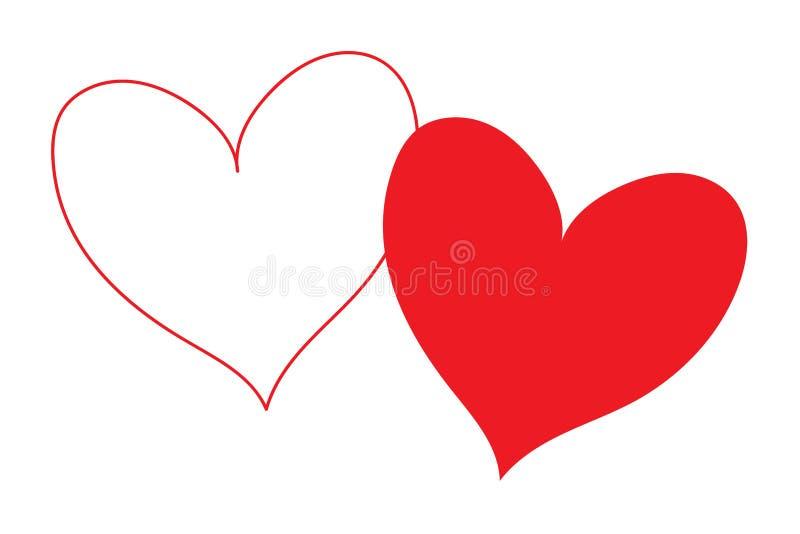 Corazón blanco con contorno rojo del esquema y corazón rojo del terraplén que coincide y aislado en parte en un fondo transparent libre illustration
