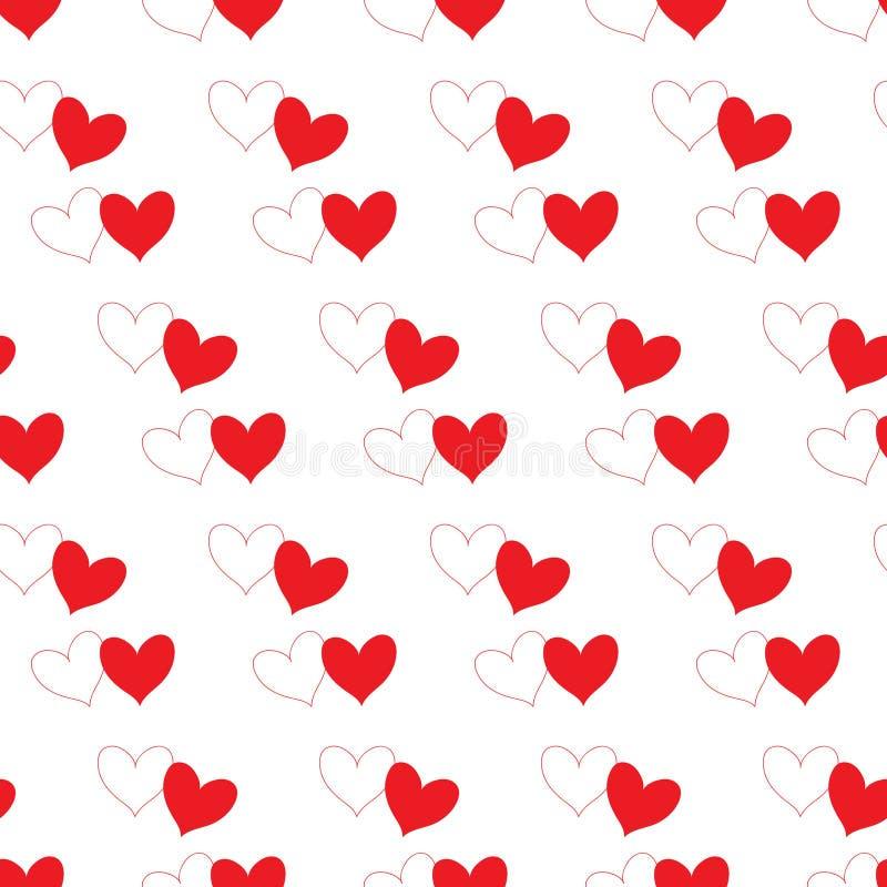 Corazón blanco con contorno rojo del esquema y corazón rojo del terraplén que coincide y aislado en parte en un modelo inconsútil stock de ilustración