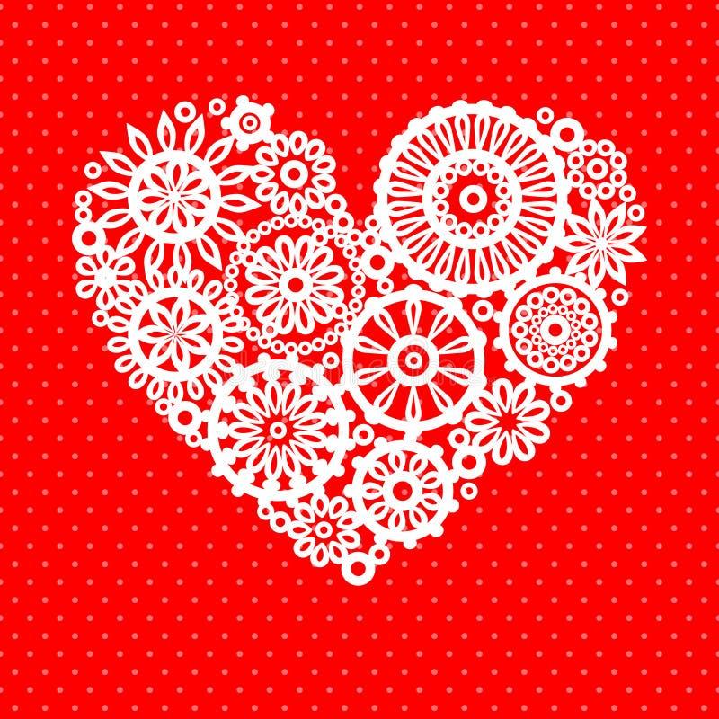 Corazón blanco de la flor del cordón del ganchillo en la tarjeta de felicitación romántica roja, fondo del vector stock de ilustración