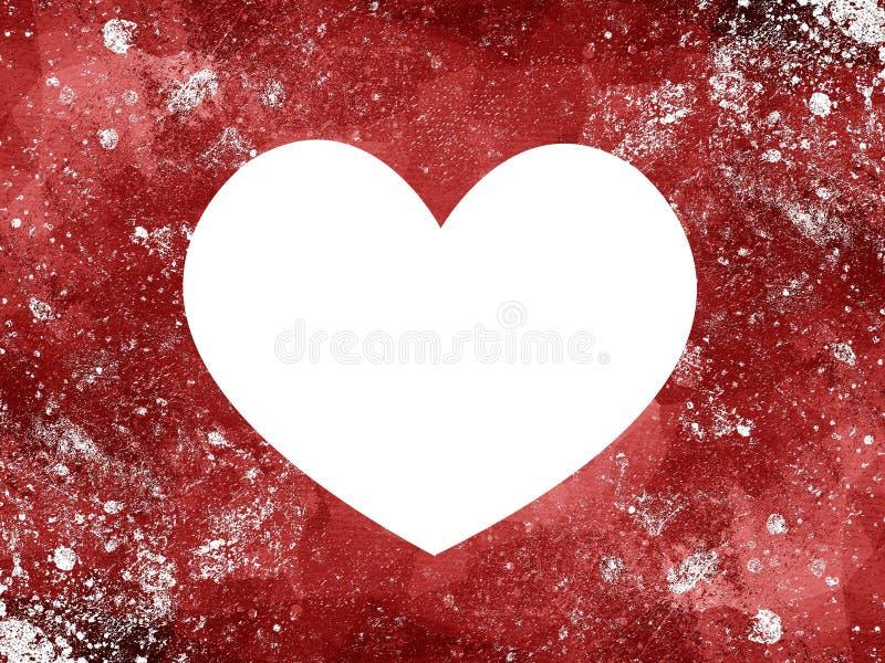 Corazón blanco en fondo desigual rojo del grunge stock de ilustración
