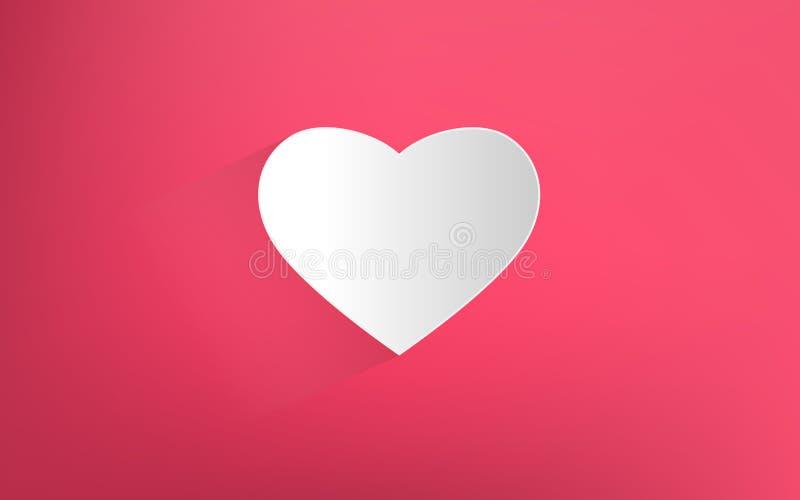 Corazón blanco en fondo rosado ilustración del vector