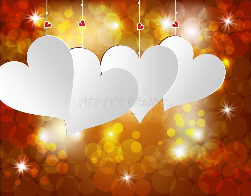 Corazón blanco en un fondo celebrador Postal en honor del día de la tarjeta del día de San Valentín s Ilustración libre illustration