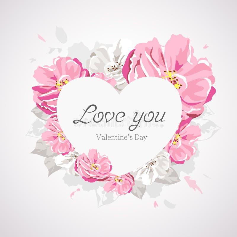 Corazón blanco feliz del día de tarjetas del día de San Valentín en la flor rosada aislada en blanco stock de ilustración