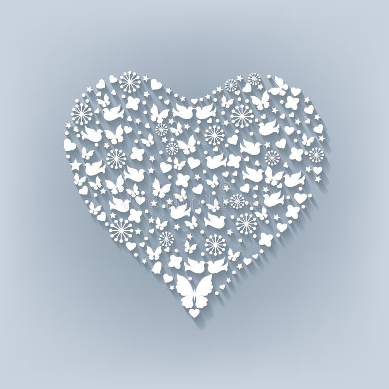 Corazón blanco grande Corte el papel libre illustration