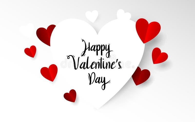 Corazón blanco y rojo con tipografía feliz del día de tarjetas del día de San Valentín Estilo de papel del arte y del arte stock de ilustración