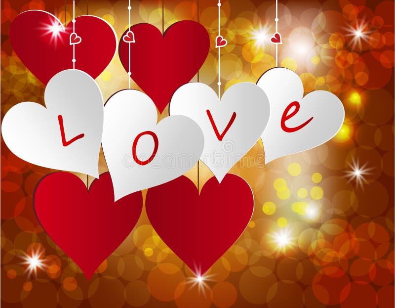 Corazón blanco y rojo en un fondo celebrador Postal en honor del día de la tarjeta del día de San Valentín s Ilustración libre illustration