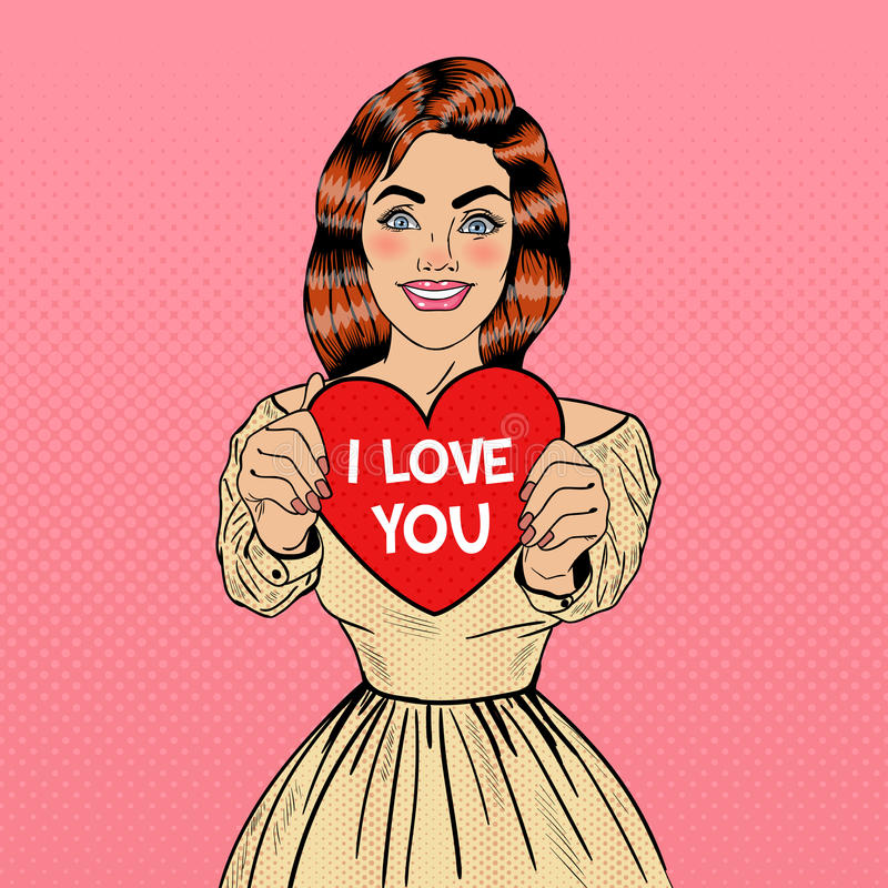 Corazón bonito joven de Art Woman Holding Big Red del estallido en sus manos ilustración del vector