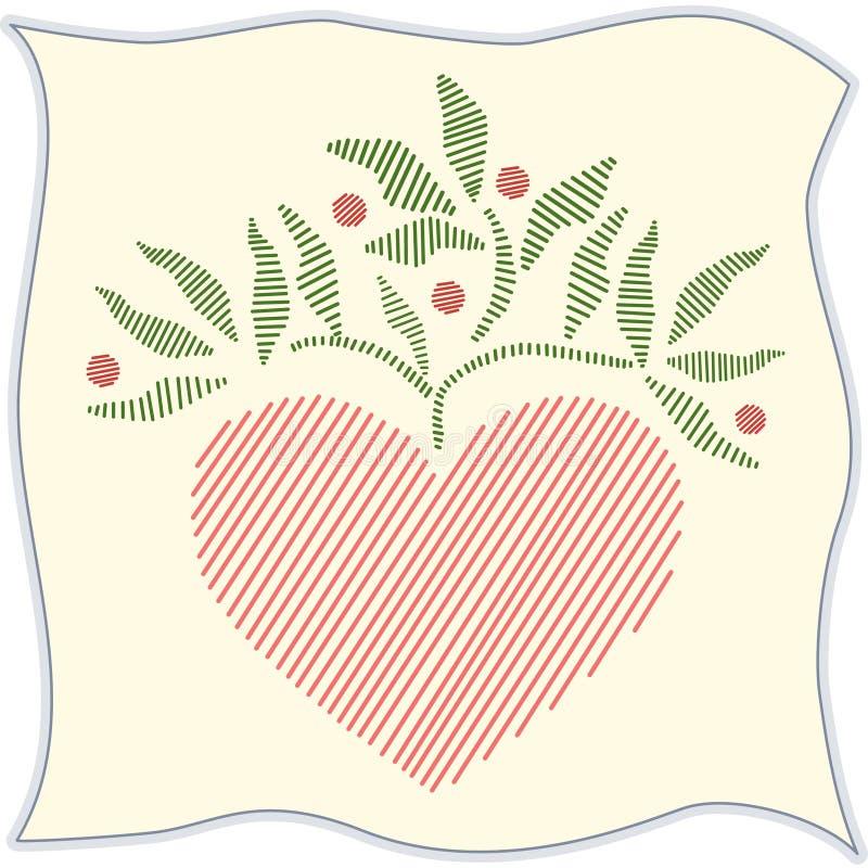 corazón bordado +EPS, lino ilustración del vector