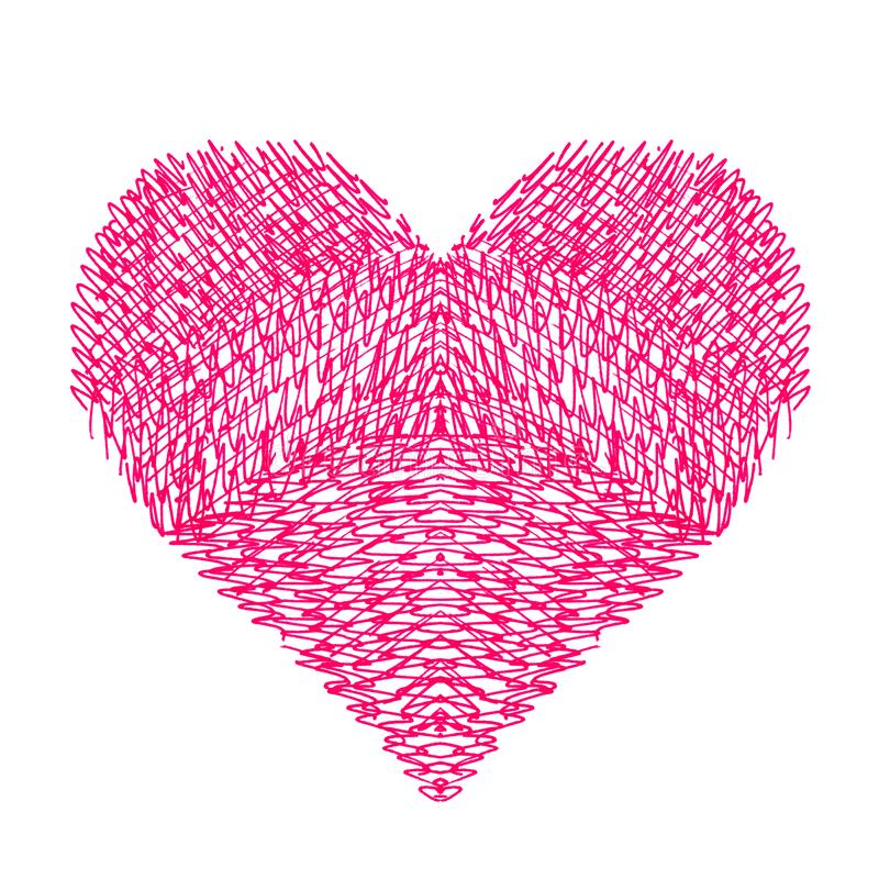Corazón brillante abstracto en el fondo blanco stock de ilustración