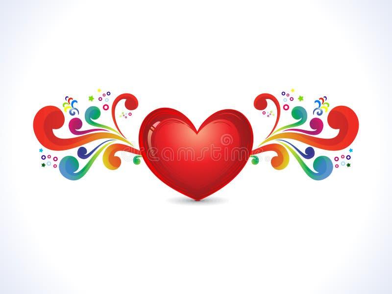 Corazón brillante artístico abstracto con floral colorido stock de ilustración