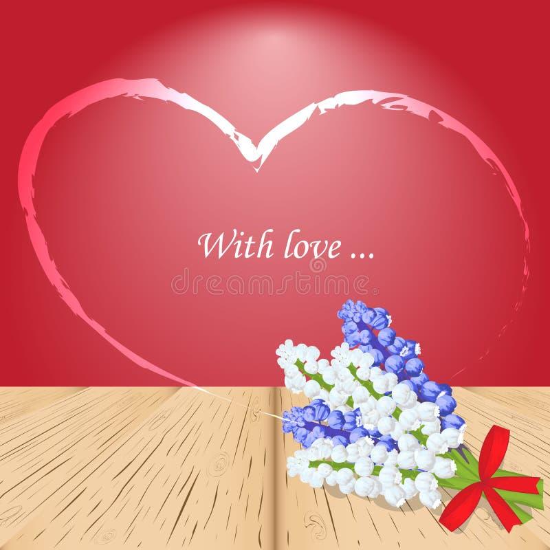 Corazón brillante con amor del texto Tarjeta de felicitación, invitación para Valent ilustración del vector