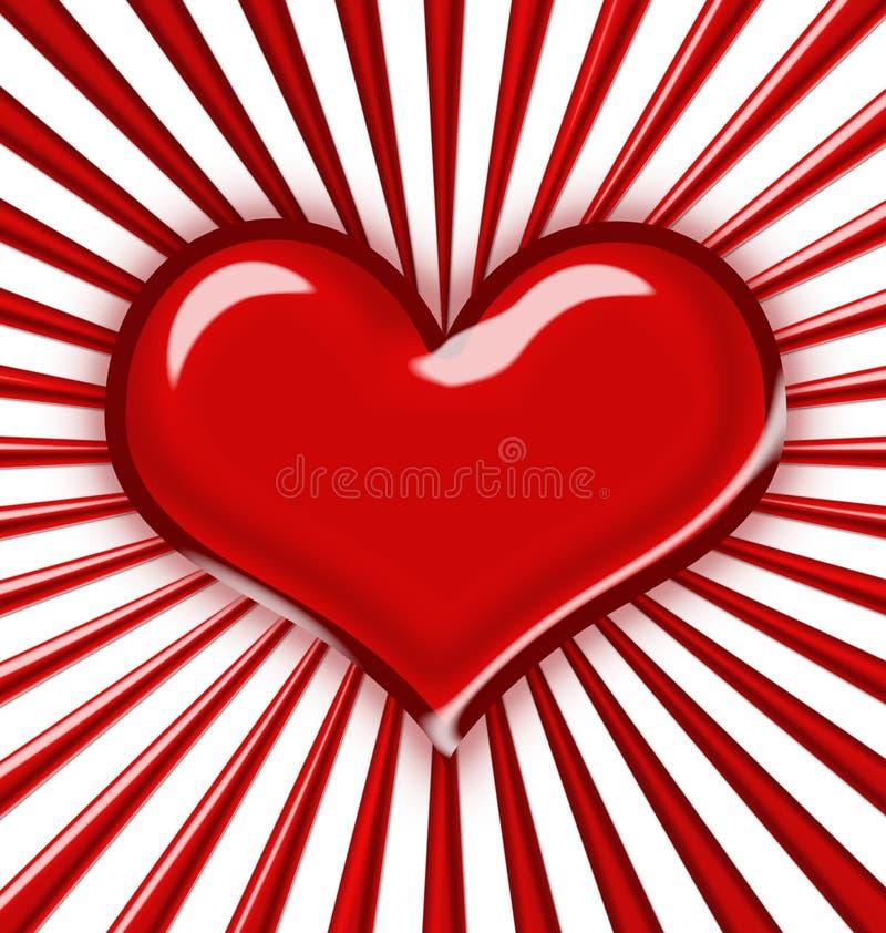Corazón brillante con los rayos stock de ilustración