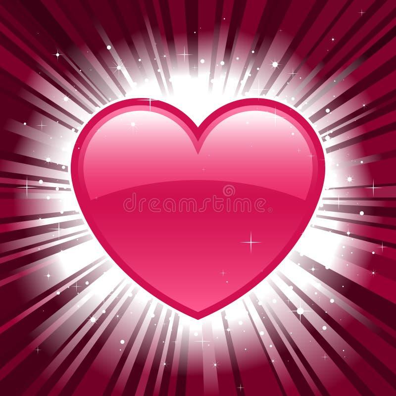 Corazón brillante de la tarjeta del día de San Valentín en fondo de la explosión de la estrella libre illustration