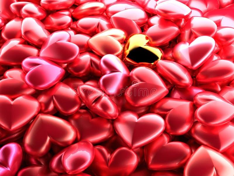 Corazón brillante de oro en un fondo de corazones brillantes rojos Contexto festivo hermoso para el día del ` s de la tarjeta del stock de ilustración
