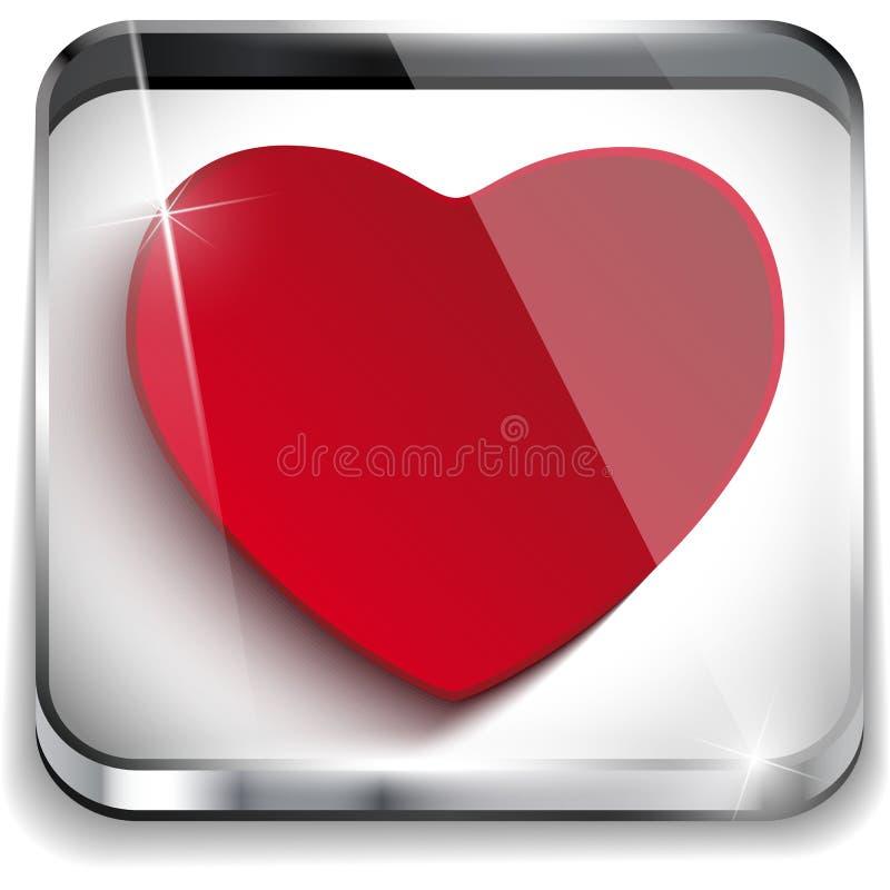 Corazón brillante del botón de la aplicación del día de tarjetas del día de San Valentín stock de ilustración