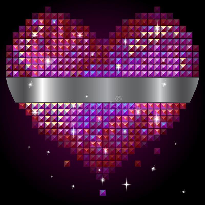 Corazón brillante del rhinestone stock de ilustración