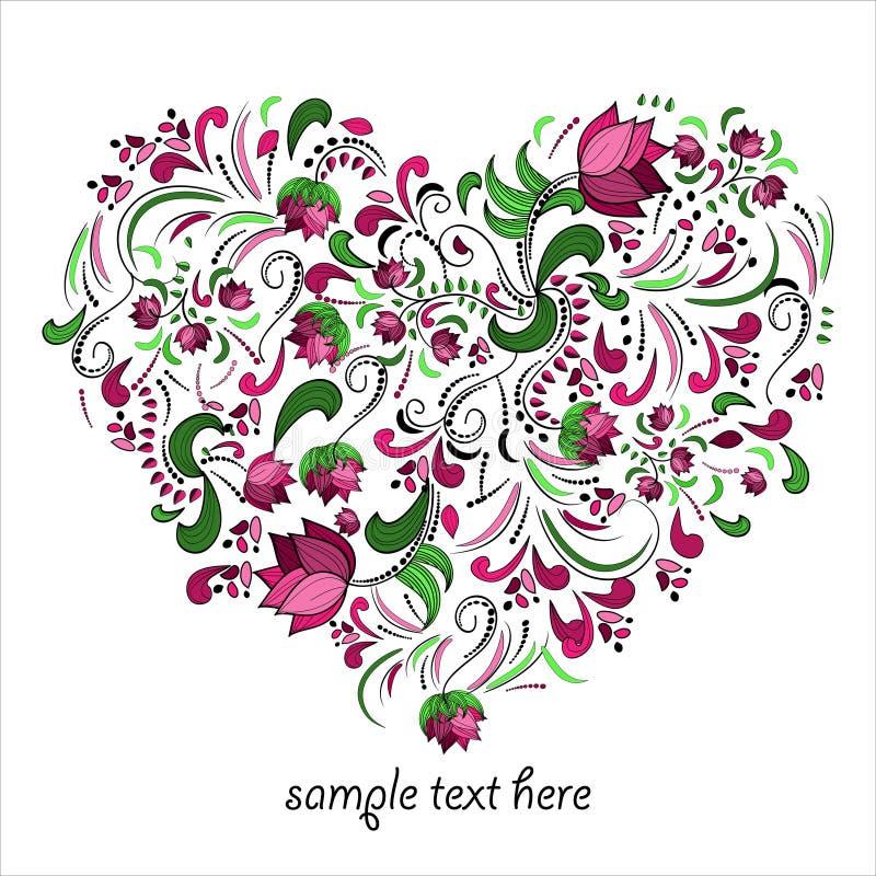 Corazón brillante hecho de flores en vector stock de ilustración