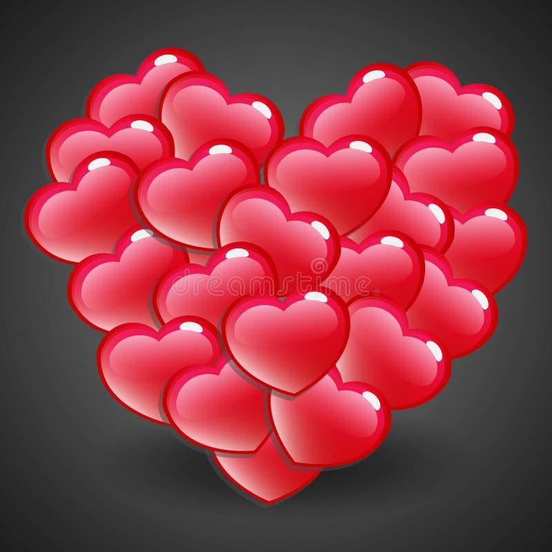 Corazón brillante rojo stock de ilustración