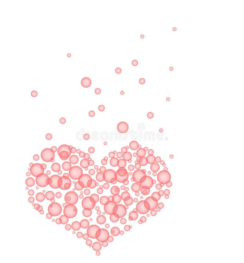 Corazón burbujeante rosado feliz stock de ilustración