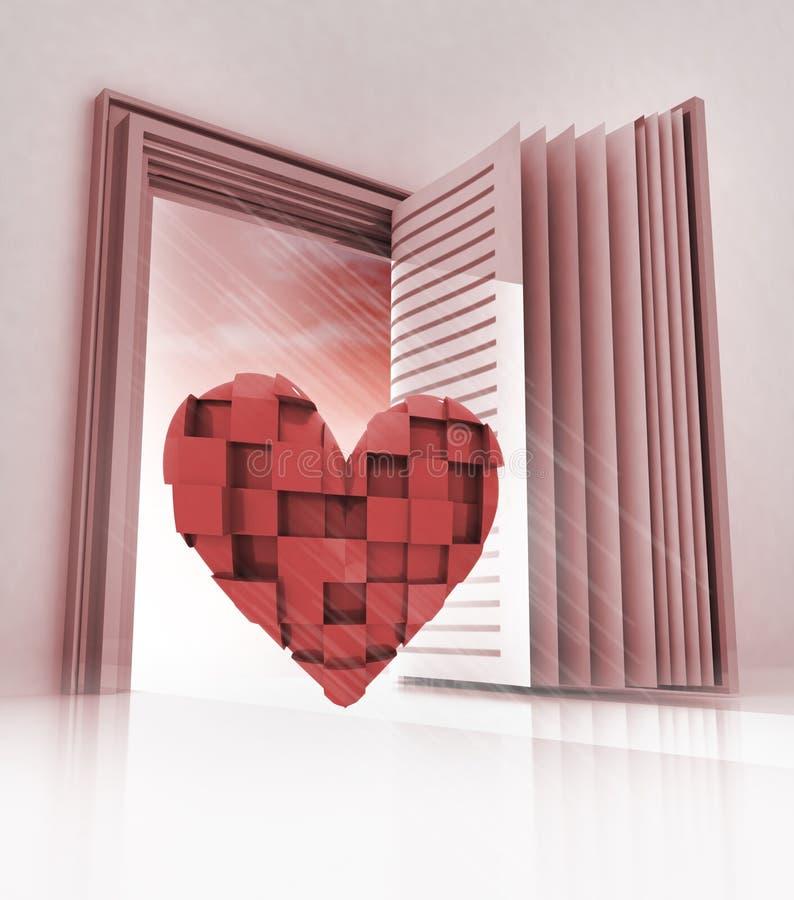 Corazón cúbico en entrada como libro abierto libre illustration