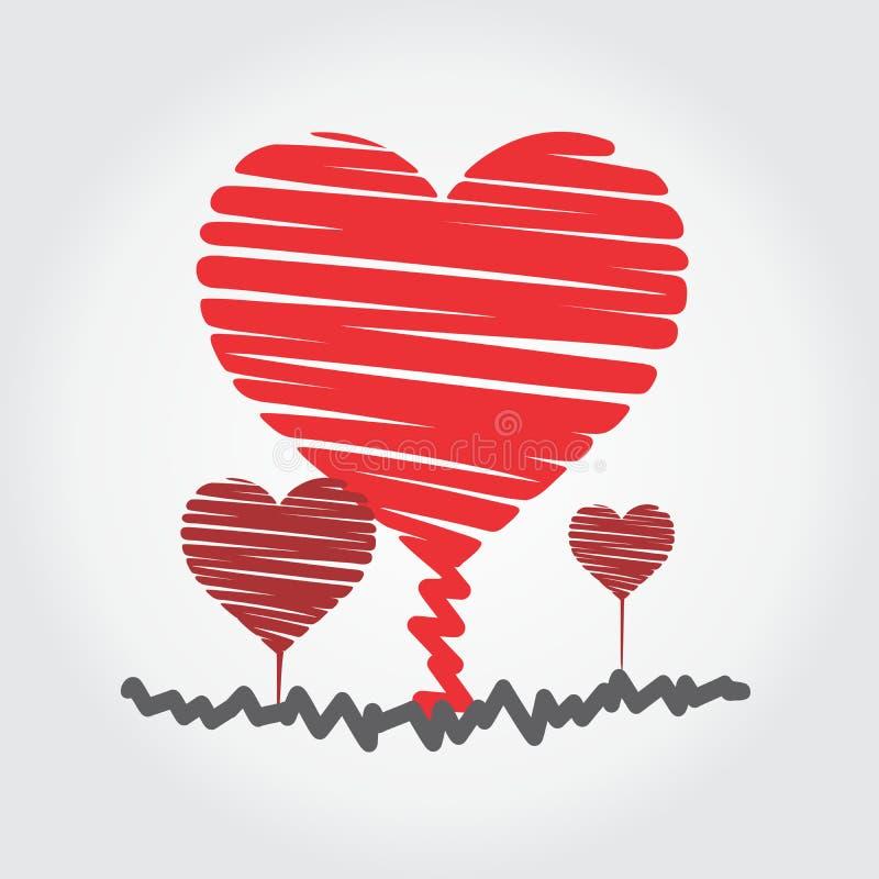 corazón cada vez mayor con el logotipo verdadero del amor fotos de archivo libres de regalías