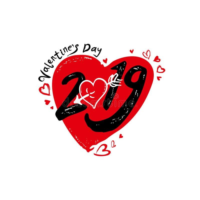 Corazón 2019 Caligrafía moderna del día de tarjeta del día de San Valentín 2019 Símbolo negro y rojo del día de fiesta con los co stock de ilustración