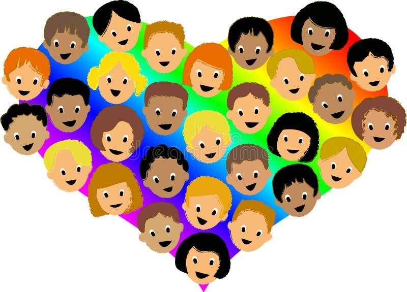 Corazón Children/ai del arco iris ilustración del vector