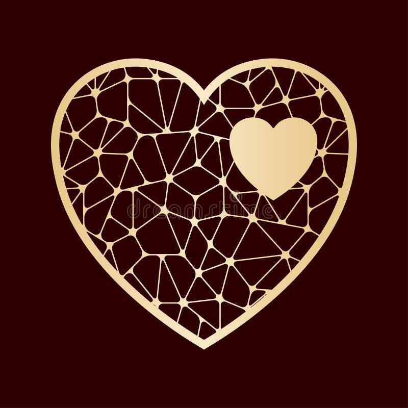Corazón a cielo abierto Plantilla de corte del laser stock de ilustración