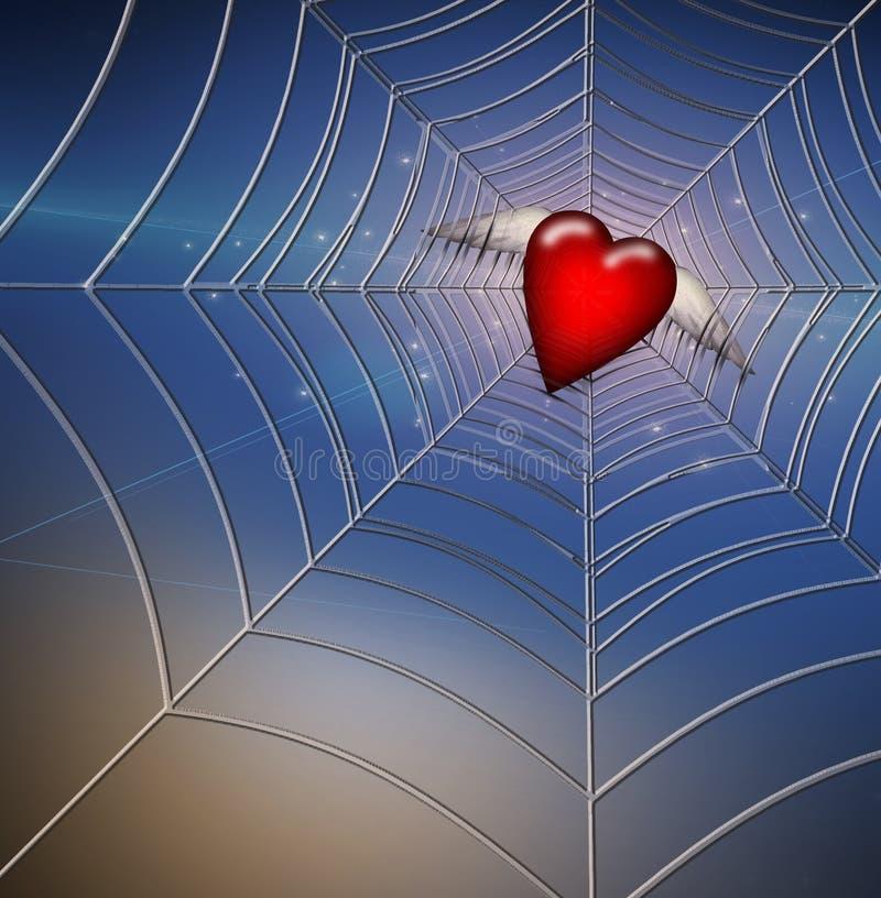 Corazón cogido en web ilustración del vector