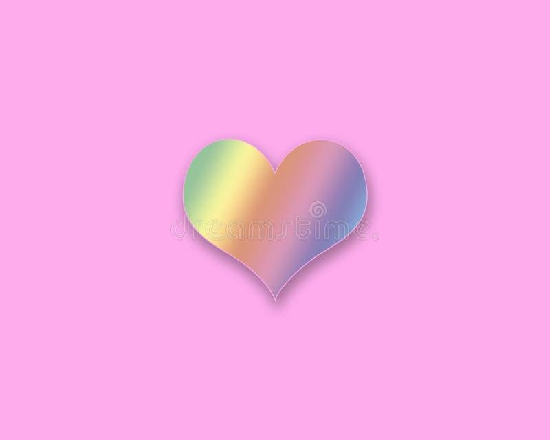 Corazón coloreado arco iris en un fondo rosado foto de archivo libre de regalías