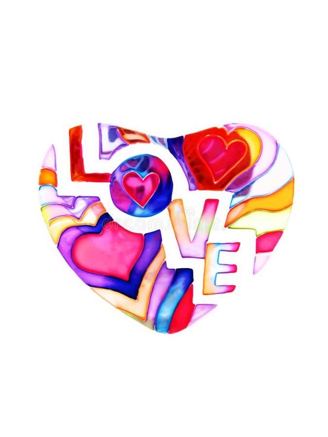 Corazón colorido con amor de la palabra aislado en blanco ilustración del vector