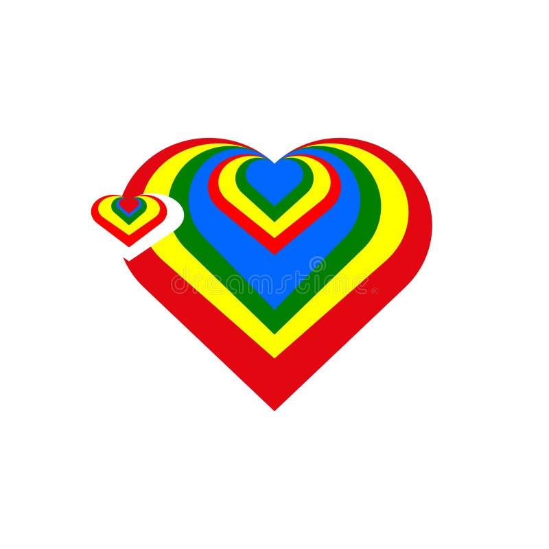 Corazón colorido logotipo icono libre illustration