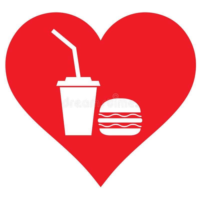 Corazón, comida y bebida Tengo gusto de beber y de comer libre illustration