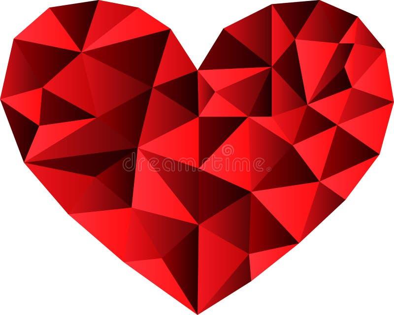 Corazón como diamante, piedra preciosa en logotipo rojo, del cristal y del corazón stock de ilustración