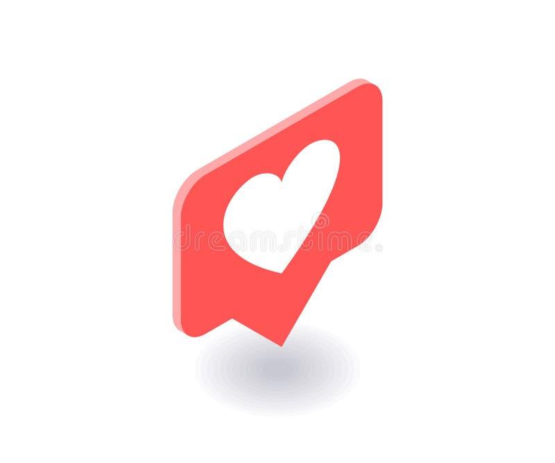 Corazón, como el icono, símbolo del vector en el estilo isométrico plano 3D aislado en el fondo blanco Medios ejemplo social libre illustration