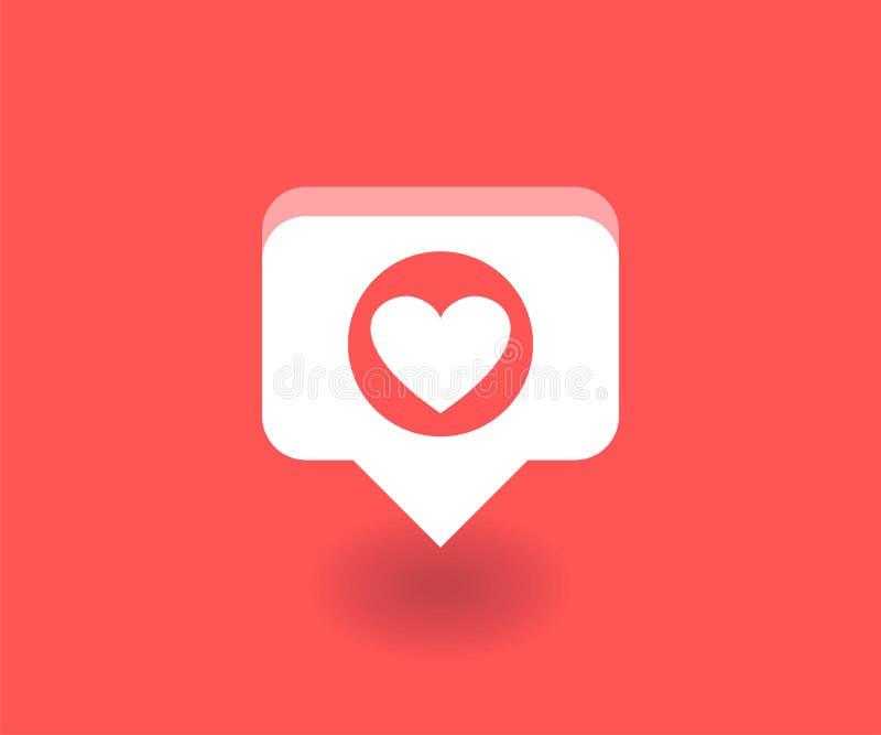 Corazón, como el icono, símbolo del vector en estilo plano aislado en fondo rojo Medios ejemplo social stock de ilustración