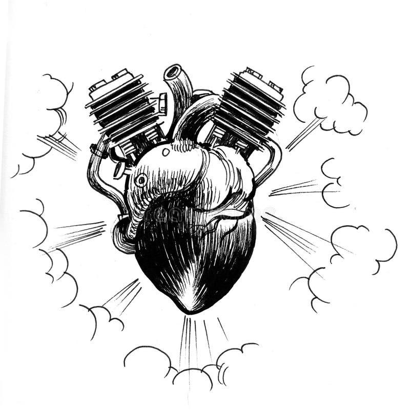 Corazón como motor stock de ilustración