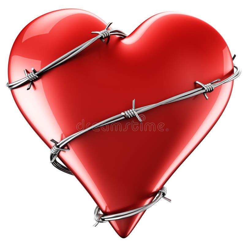 Corazón con alambre de púas stock de ilustración
