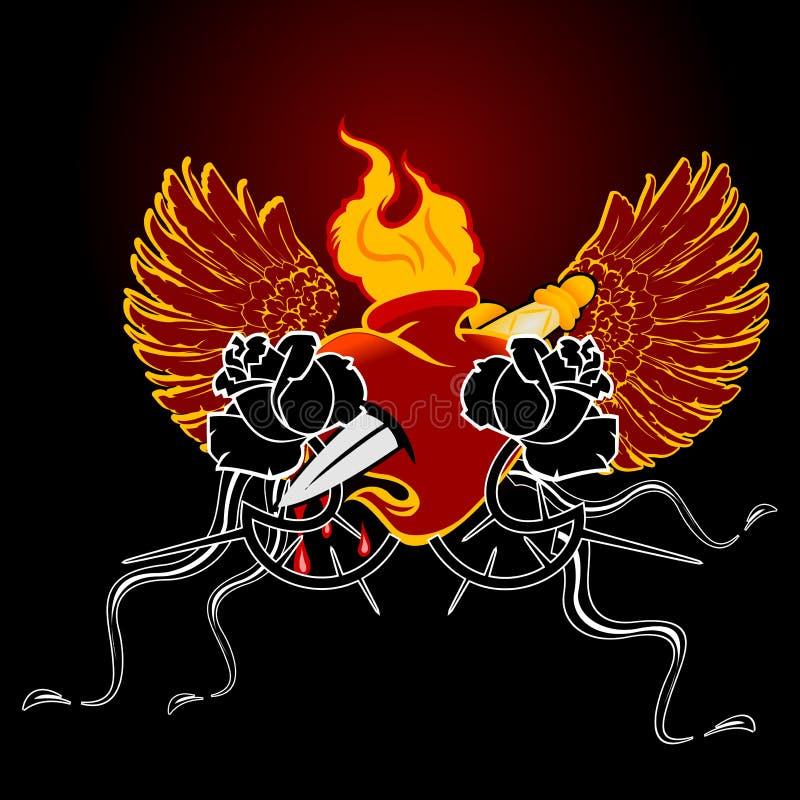 Corazón con alas del fuego rojo y Rose negra ilustración del vector