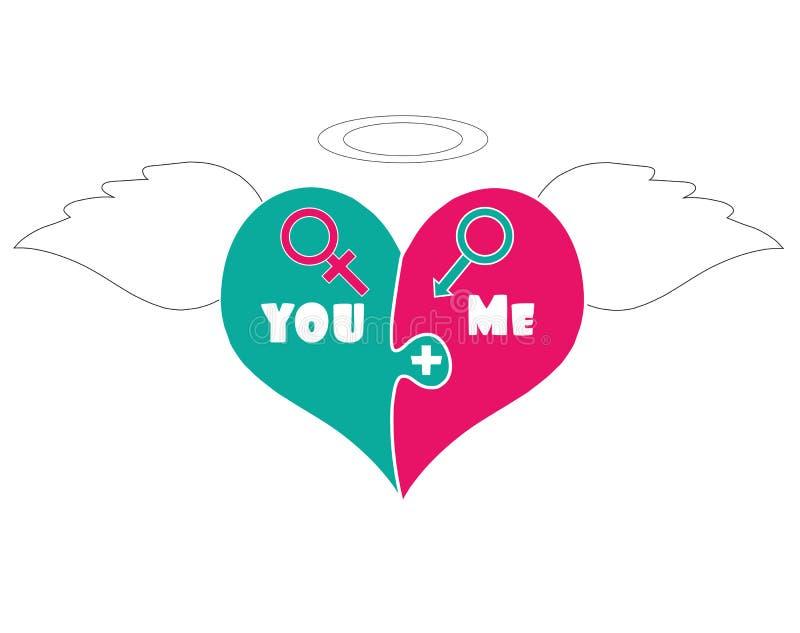 Corazón con Angel Wings, halo de los pedazos del rompecabezas arriba stock de ilustración