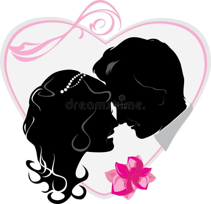 Corazón con casado nuevamente. Icono de la boda libre illustration